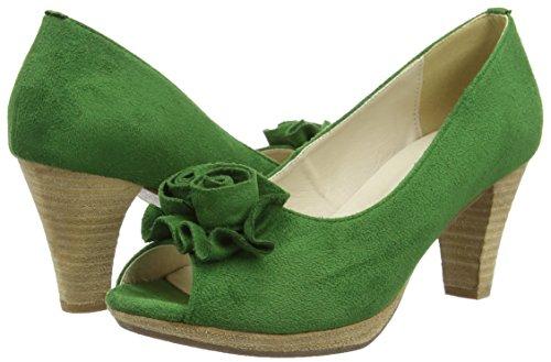 HIRSCHKOGEL 0733109 - Zapatos de tacn con Punta Cerrada de Material Sintético Mujer, Color Verde, Talla 38 EU