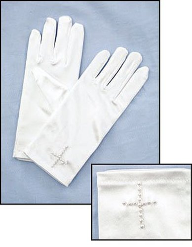 First Communion White Satin Gloves with Beaded Cross ()
