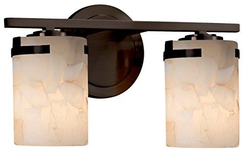 Justice Design Group Lighting ALR-8452-10-DBRZ Alabaster Rocks! Atlas 2-Light Bath Bar, Dark Bronze