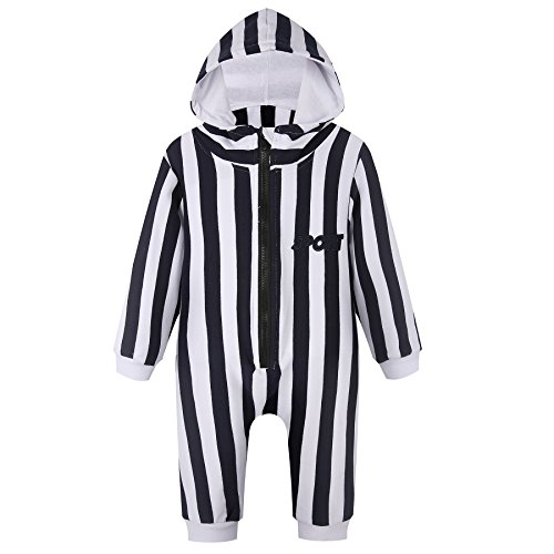 Unisex Baby Sport Jumpsuit Romper with Hoodie Hat & Striped Outfit for Boy Girl