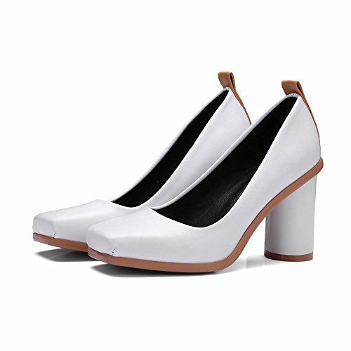 MissSaSa Damen Chunky high heel vierkant Leder-Pumps Weiß