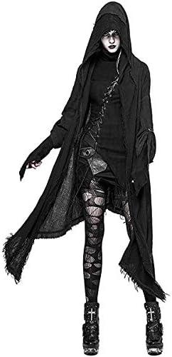 Punk Rave Cape Capuche Cardigan Noir pour Femmes Gothique Veste à Capuche