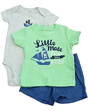 Carters Infant Boys Green Pirate T-Shirt Gray Striped Creeper & Blue Shorts Set