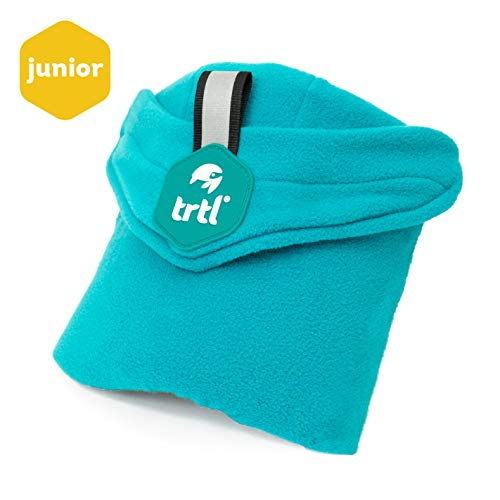 (trtl Pillow Junior, Kids Travel Pillow with Built in Neck Support, Ergonomic Design and Hypoallergenic Fleece Travel Accessories for Kids (Aqua)