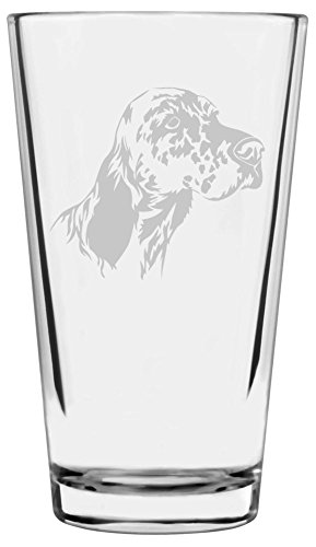 English Setter Dog Themed Etched All Purpose 16oz Libbey Pint Glass