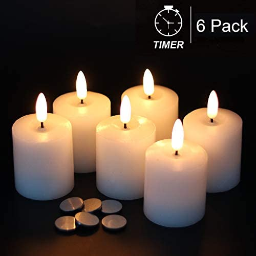 GenSwin Flameless Pillar Candles Flickering with Timer, Battery Operated Real Wax LED Votive 3D Wick Candles 6 Pack White Battery Include, 2 x 3.2 Inch
