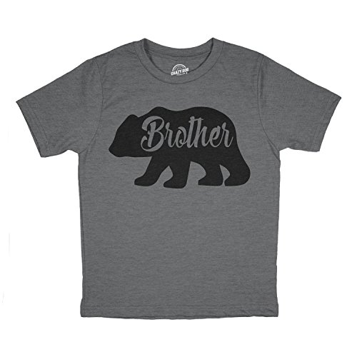Toddler Brother Bear Tshirt Cute Funny Family Tee for Little Brother (Dark Heather Grey) - 3T