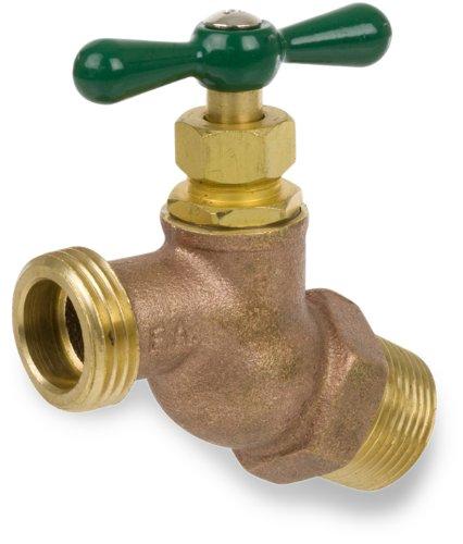"Smith-Cooper International 169L Series Brass No Kink Hose Bibb, Potable Water Service, Elbow, T-Handle, 3/4"" NPT Male"