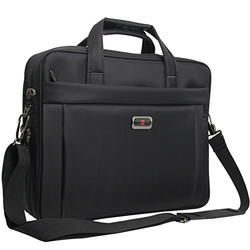 Briefcase Bag, 15.6 inch Laptop Bags, Stylish Nylon Multi-functional Organizer Messenger Bags for Men Women Fit for 15.6' Notebook Macbook Tablet - Black