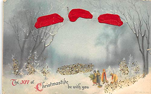 Christmas Post Card Old Vintage Antique Xmas Postcard hand made felt through card, Damaged Card Writing on back