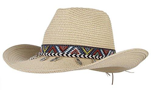 Gemvie Cowboy Hat Western Style Cowboy Straw Hat Shapesble Brim Band & Pendant Decor Beige (Prada Woven Band)
