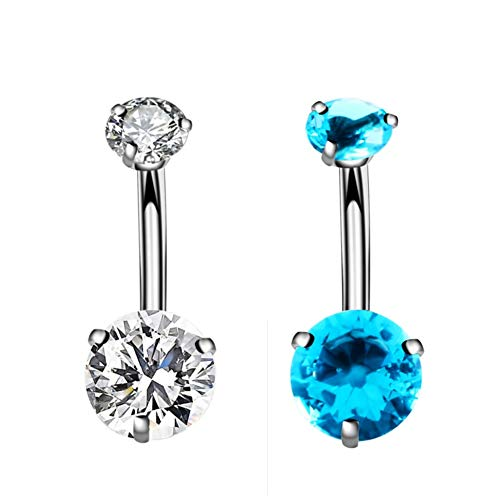 YHMM 14G Surgical Steel Belly Button Rings Round Cubic Zirconia Navel Barbell Stud Body Piercing 2-6 Pcs (4 Pcs Pink+Champagne+Black+Green)
