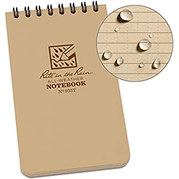 """Rite in the Rain Weatherproof Top-Spiral Notebook, 3"""" x 5"""", Tan Cover, Universal Pattern (No. 935T)"""