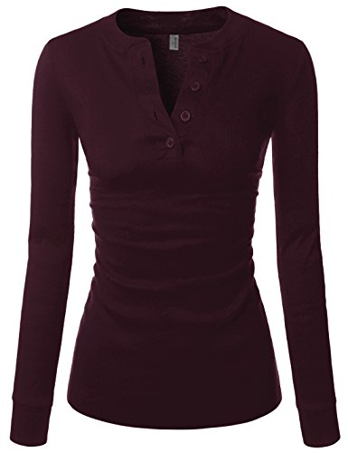 NEARKIN (NKNKWBT68) Beloved Womens Slim Cut Raw Edge Long Sleeve Henley Tshirts BURGUNDY US S(Tag size M) ()