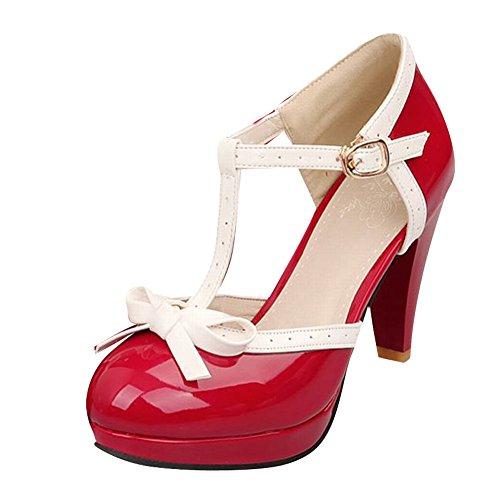 Carolbar Women's Charm High Heel Platform Bows T-Strap Court Shoes Red