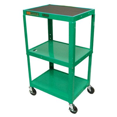 LUXOR AVJ42-GN Adjustable Height Metal Cart, 42″