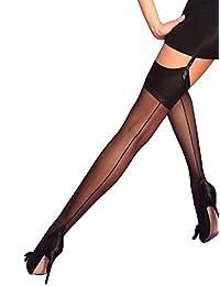 Yummy Bee Silky Womens Suspender Sheer Stockings Back Seam Large Cuban Heel
