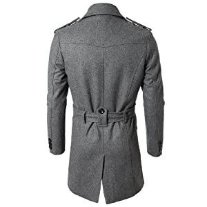 Doublju Mens Wool Coat with Belt GRAY (US-S)