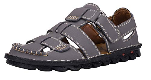 JIONS Closed Toe Leather Fisherman Mens Sandals, Outdoor Adjustable Summer Shoes A-2 Grey 48/12 M US