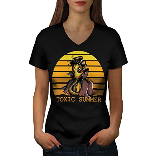 [Toxic Summer Mask Nuclear Gas Women NEW Black M V-Neck T-shirt | Wellcoda] (Halloween Costumes Poison Pixie)