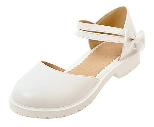 Sandals Loop Low Hook Heels Solid Women's Round White PU Toe WeiPoot 6w4zOqW