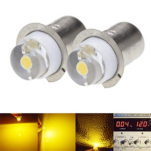 (2Pcs P13.5S 0.5W LED Upgrade Flashlights Bulb for DC 3-18V / 5-24V Torch Light, 150 Lumens, White 6000K,Warm White 3000K, Negative earth (5V-24V DC, Warm White))
