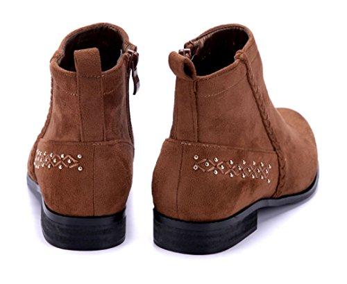 Schuhtempel24 Damen Schuhe Klassische Stiefeletten Stiefel Boots Blockabsatz Nieten 3 cm Camel