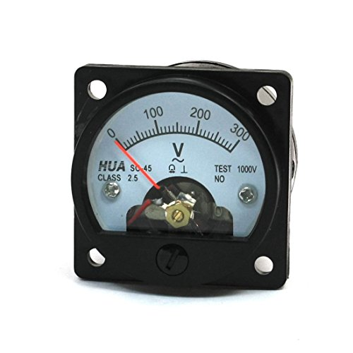 Baomain Analog Dial Panel Meter Voltmeter Gauge SO-45 AC 0-300V Round Black