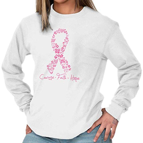 Classic Teaze Courage Faith Hope Breast Cancer Awareness Long Sleeve T Shirt White