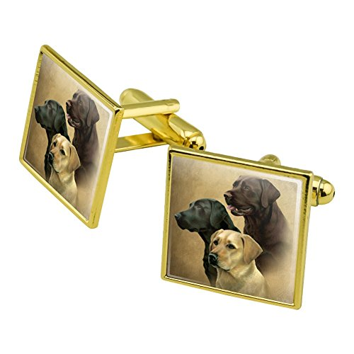Graphics and More Labrador Retriever Trio Dogs Portrait Square Cufflink Set Gold Color