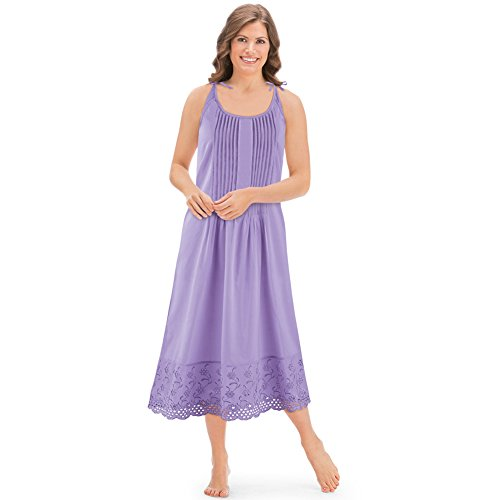Women's Eyelet Hem Pintuck Sleeveless Tie Shoulder Knee Length Cotton Nightgown, Lavender, X-Large