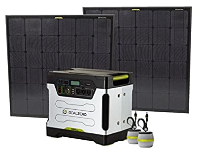 Extreme Solar Generator Kit with 1250-Watt Generator, Two XXL 90-Watt Solar Panels, 2 Light-A-Life Lamps and MC4 Extension. A Complete Goal Zero Package.