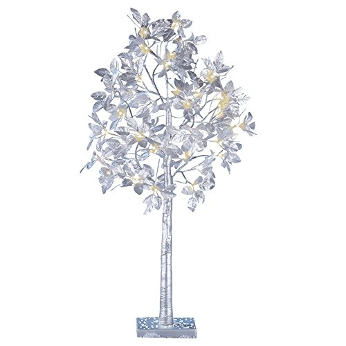 Silver Leaf Lighted Tree Outdoor Christmas Decoration (Outdoor Decorations Christmas Illuminated)