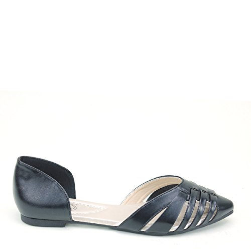 New Brieten Womens Cute Strappy Cut-out Pointy Toe Comfort Flat Shoes Black 6vMeuVm