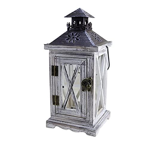 Winddichte Houten Handheld Kandelaar Opknoping Decoratieve Retro Lantaarn Kaars Shelter voor Home Garden