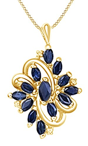 AFFY Marrquise Cut Blue Sapphire Cluster Pendant in 14K Yellow Gold Over Sterling Silver (1.36 Cttw)