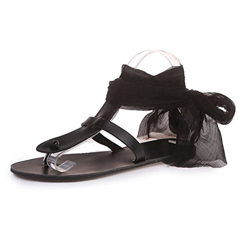 Ladies Lace Black Flat Casual up Outdoor Slippers Flops GIY Slip Flip Dressy Sandals Slide Anti Summer Womens pxTEqqa