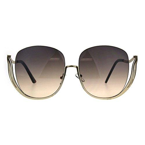 Womens Oversize Swan Half Horn Rim Diva Fashion Sunglasses - Glasses Diva