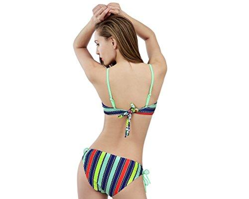 Yvon nelee Mujer Deportivo Bikini Set de baño Mode con parte superior Push Up y patillas Hot Pants Neck Holder cuencos