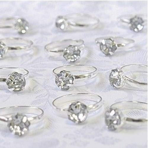 - Silver Engagement Rings for Table Decorations or Favor Accents - pack of 12