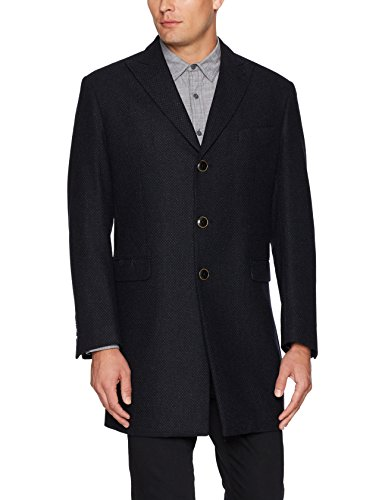 Tallia Men's Versailles Three Button Peak Lapel Wool Blend Coat, Navy, XXL Wool Jacket Coat
