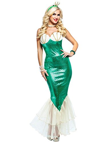 Dazzling Green Mermaid Costume - Womens Small (4-6) (Ariel Little Mermaid Costume For Adults)
