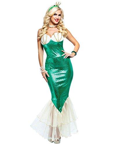 [Dazzling Green Mermaid Costume - Womens Medium (8-10)] (Ariel Costumes For Women)