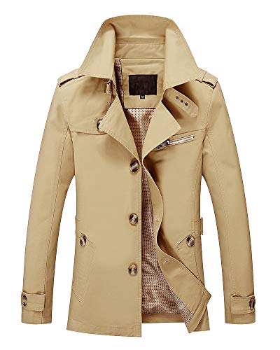 Long Warm Slim Lightweight Military Pockets Multi Outerwear Jacket AnyuA Coats Sleeve Mens Fit Yellow BZnwIU