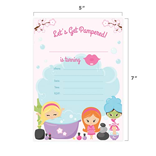 Spa Day 1 Happy Birthday Invitations Invite Cards (25 Count) With Envelopes & Seal Stickers Vinyl Girls Kids Party by Desert Cactus (Image #4)