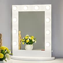 Chende Hollywood Tabletops Lighted Makeup Vanity Mirror with Lights Dimmer White