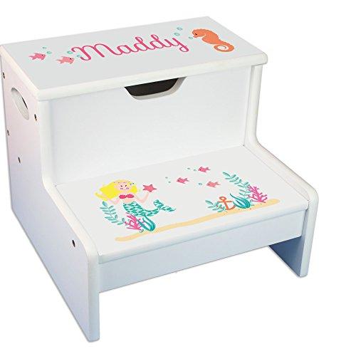 - Personalized Blond Mermaid Princess White Childrens Step Stool with Storage