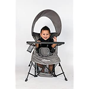 Baby Delight Go with Me Chair   Indoor/Outdoor Chair with Sun Canopy   Gray   Portable Chair converts to 3 Child Growth Stages: Sitting, Standing and Big Kid   3 Months to 75 lbs   Weather Resistant