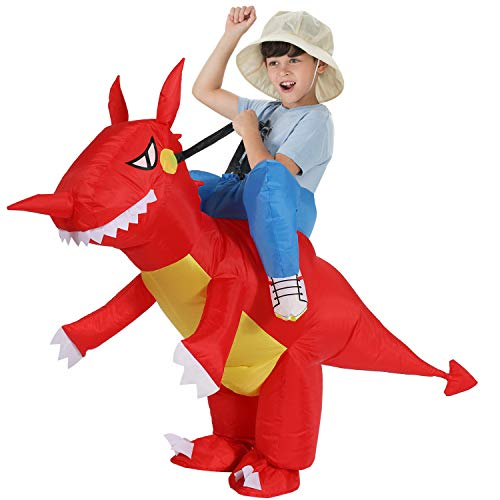 On The Spot Halloween Costumes (TOLOCO Inflatable Dinosaur T-REX Costume | Inflatable Costumes for Kids| Halloween Costume | Blow Up Costume (Dinosaur Kid #)