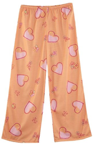 Girls Sleep Pant Life Is Good (Life is good Girl's Tossed Hearts Sleep Pants, Tangerine Orange, Girl's Smali)